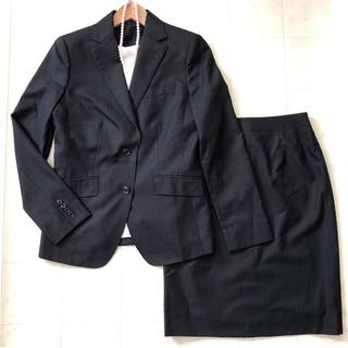 NEWYORKER - NEW YORKER ニューヨーカー スカートスーツ 11号/L 黒 ストライプ