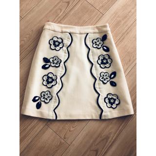 チェスティ(Chesty)の新品未使用 チェスティ スカラップ フラワー ウールスカート(ひざ丈スカート)