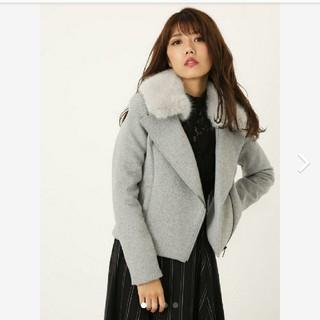 リエンダ(rienda)のrienda WクロスFaux Fur Wool MIXライダースJK グレーS(ライダースジャケット)