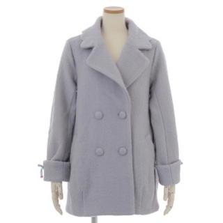リズリサ(LIZ LISA)の袖口レースアップコクーンコート ブルー LIZ LISA 新品 未使用(ロングコート)