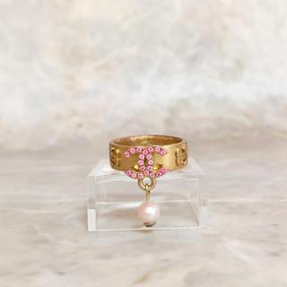 シャネル(CHANEL)の正規品 シャネル 指輪 ゴールド ココマーク ピンクストーン パール 金 リング(リング(指輪))