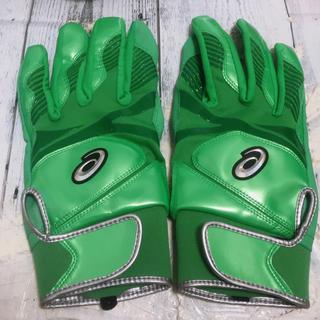 アシックス(asics)のアシックス asics バッティンググローブバッティング手袋 緑 グリーン両手(グローブ)