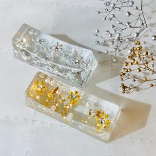 雪の結晶♡パール入りお箸置き 固めるハーバリウム(その他)