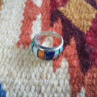 Indian - インディアンジュエリー ズニ族 インレイ ターコイズ コーラル オパール 指輪