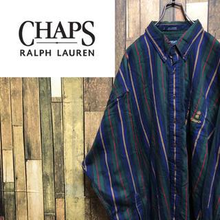 Ralph Lauren - 【激レア】チャップスラルフローレン☆刺繍ロゴ入りビッグマルチストライプシャツ