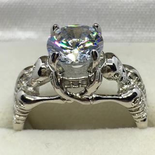 大粒CZダイヤ スカル シルバー925 リング  (リング(指輪))