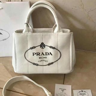 PRADA - プラダ 2way カナパ トートバッグ 白 ホワイト