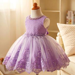 新品 キッズドレス 120 ㎝ 結婚式 パープル