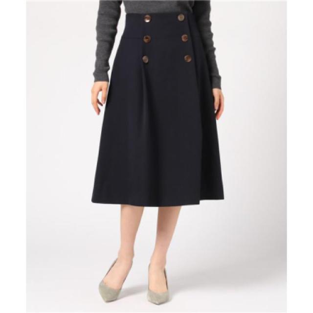 Demi-Luxe BEAMS(デミルクスビームス)のDemi-Luxe BEAMS / フロントボタンタックAラインスカート レディースのスカート(ひざ丈スカート)の商品写真