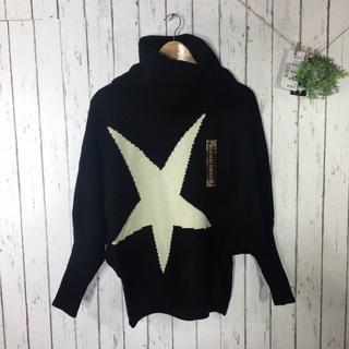 新品LL 日本語ラップ 星柄ウール混ドルマンニットセーター ブラック(ニット/セーター)