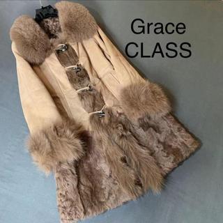 グレースコンチネンタル(GRACE CONTINENTAL)の美品 グレースクラス  リアルムートンコート 軽くて暖かい フォックス×羊革(ムートンコート)