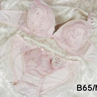 005★B65 M★美胸ブラ ショーツ Wパッド 姫系レース&刺繍 ピンク(ブラ&ショーツセット)