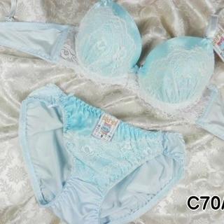 003★C70 M★美胸ブラ ショーツ 谷間メイク サテン&レース 水色(ブラ&ショーツセット)