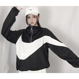 オルチャンファッション ナイロンジャケット 二色展開 モノクロ 送料無料(ナイロンジャケット)