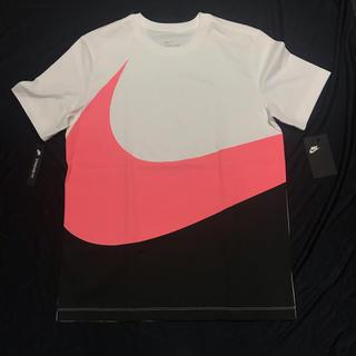NIKE - 新品 NIKE ナイキ Tシャツ M ビッグスウッシュ 白黒サーモンピンク