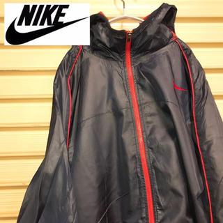 ナイキ(NIKE)のナイキ ナイロンジャケット パーカー XLワンポイント ブラック 90s (ナイロンジャケット)