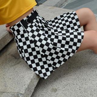 【SALE中】ハイウエストチェック柄スカート(ひざ丈スカート)