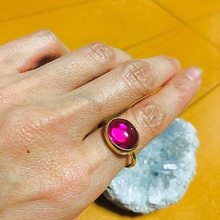 ピンクトルマリン カボション ゴールドリング(リング(指輪))