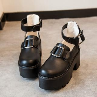 ブラック 系  リングバックル 靴 黒 ロリータ 厚底シューズ 可愛系