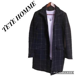 テットオム(TETE HOMME)のTETE HOMME チェスターコート チェック柄コート ロングジャケット(チェスターコート)