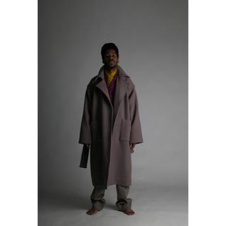 COMOLI - ATHA double melton maxi coat 【navy】