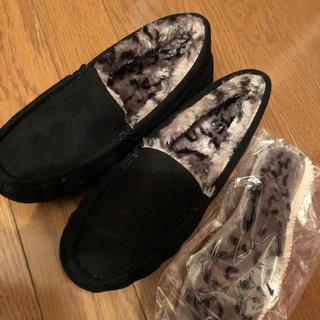 神戸レタス - モカシン 黒 ブラック ファー ムートン 靴 レディース