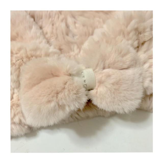 Furla(フルラ)の新品 レッキス リボン ファー ティペット スヌード ピンクベージュ レディースのファッション小物(マフラー/ショール)の商品写真