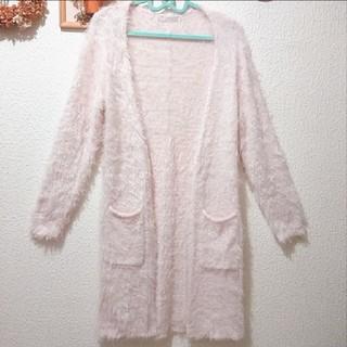 シマムラ(しまむら)の美品 しまむら ベビーピンク シャギーニット ロング カーディガン♥M GU(ニット/セーター)