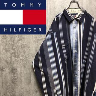 TOMMY HILFIGER - 【激レア】トミーヒルフィガー☆刺繍ロゴ入りランダムストライプシャツ 90s