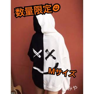 【セール中】男女兼用★ビックシルエット ロゴ ツートンカラー パーカー 韓国