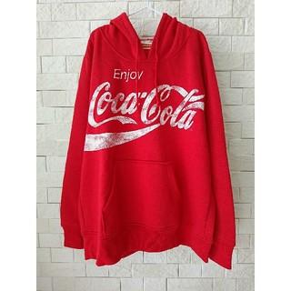 コカコーラ(コカ・コーラ)のused コカコーラ ♡ ロゴ パーカー 赤 (パーカー)