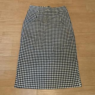 タイトスカート チェック 韓国風 個性的 古着チェックタイトスカート(ひざ丈スカート)