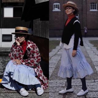 コムデギャルソン(COMME des GARCONS)の日本製 コムコム コムデギャルソン ストライプ 総柄色褪せ加工ロングスカート(ロングスカート)