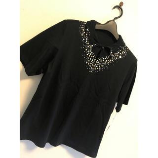 リリーブラウン(Lily Brown)の黒 ブラック 半袖 tシャツ 11号 l ドット シルバー ライトストーン 秋冬(Tシャツ(半袖/袖なし))