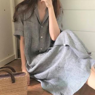 【シンプル♡ワンピ】Fサイズ グレー ストライプ 襟付き シャツワンピース(ひざ丈ワンピース)