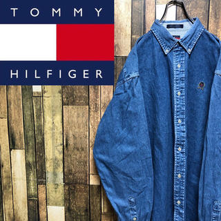 TOMMY HILFIGER - 【激レア】トミーヒルフィガー☆オールドワンポイント刺繍ロゴビッグデニムシャツ