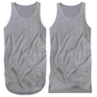 2枚 ロングタンクトップ メンズ 三代目 TAKA メタリカT 裾角丸 XL 灰(Tシャツ/カットソー(半袖/袖なし))