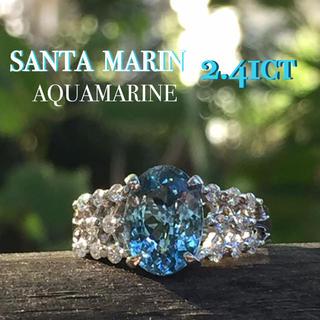 pt900  瑞々しいサンタマリアアクアマリン ダイヤモンド リング