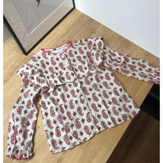 ZARA KIDS(ザラキッズ)の二回のみ着用♡ペイズリーフリルトップス キッズ/ベビー/マタニティのキッズ服女の子用(90cm~)(ブラウス)の商品写真