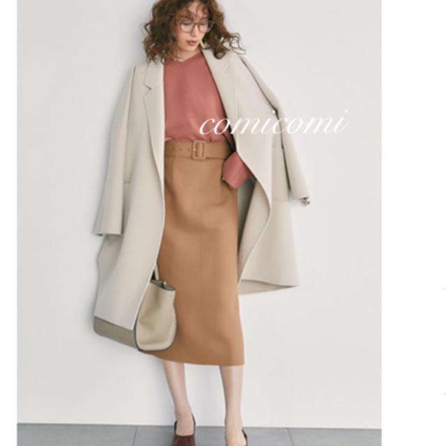 Mila Owen(ミラオーウェン)のミラオーウェン ❤️ ベルト付ボンディングセットアップタイトスカート 茶 茶色 レディースのスカート(ひざ丈スカート)の商品写真