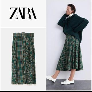 ザラ(ZARA)のZARA ベルト付き チェックスカート ロングスカート グリーン(ロングスカート)