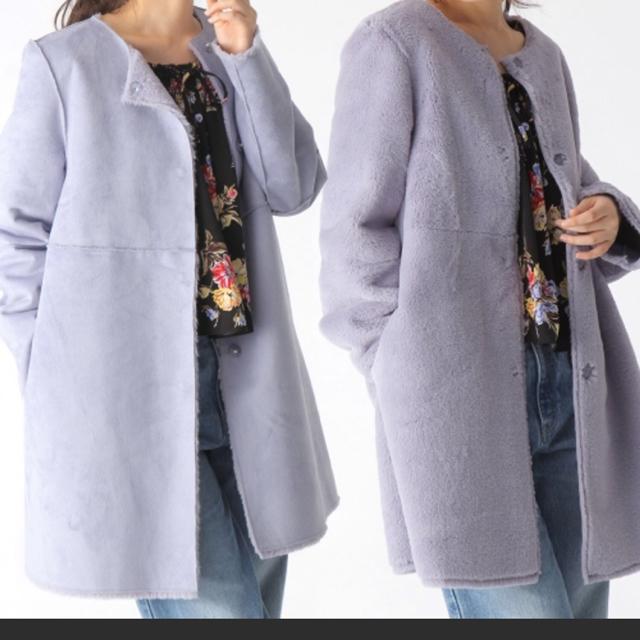 mysty woman(ミスティウーマン)の値下げ ミスティウーマン アウター ムートン ロングコート ブルー リバーシブル レディースのジャケット/アウター(ロングコート)の商品写真