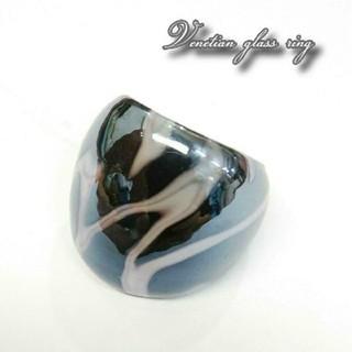 VR17 人気のブラック系 ベネチアガラス ベネチアリング 指輪 (リング(指輪))
