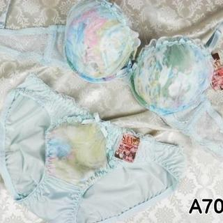 018★A70 M★美胸ブラ ショーツ Wパッド グラデーション 薄水色(ブラ&ショーツセット)