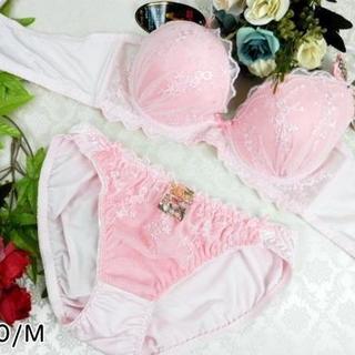 021★A70 M★美胸ブラ ショーツ Wパッド ツタフラワー ピンク(ブラ&ショーツセット)