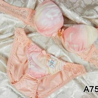 023★A75 M★美胸ブラ ショーツ Wパッド グラデーション 花 ピンク(ブラ&ショーツセット)