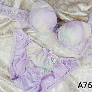 025★A75 M★美胸ブラ ショーツ Wパッド グラデーション 花 紫(ブラ&ショーツセット)