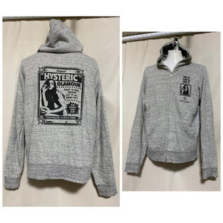 HYSTERIC GLAMOUR - HYSTERIC GLAMOUR  グレー ガールプリントパーカー M