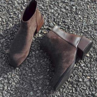 ブラウン 茶 24.0cm ショートブーツ (ブーツ)