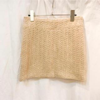 ローズバッド(ROSE BUD)のセレクトショップ購入 ニット台形ミニスカート ベージュ 美品(ミニスカート)